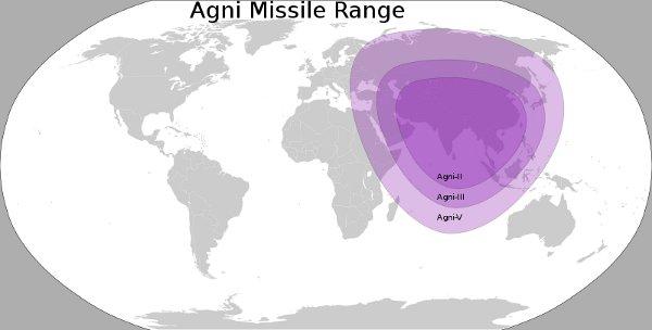 Zasięg różnych wersji rakiety Agni / Credits - Morgan Phoenix, wikipedia