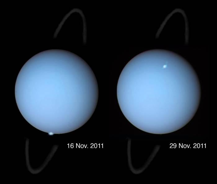 Zdjęcia zórz na Uranie wykonane przez Kosmiczny Teleskop Hubble w 2011 roku / Credits: HST, Laurent Lamy, AGU