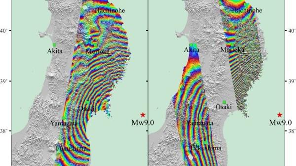 Interferogramy, wykonane przez satelitę Envisat, obrazujące trzęsienie ziemi w Japonii z 11 marca 2011 roku / Credtis: ESA, Hong Kong Polytechnic University, JPL, Caltech
