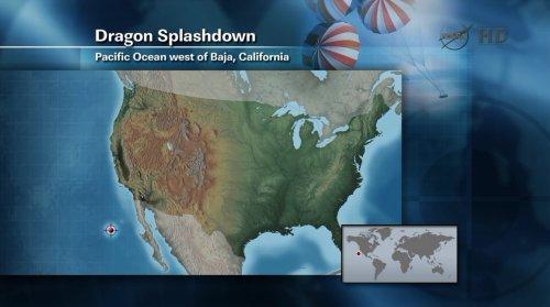 Przewidywane miejsce lądowania statku Dragon na Oceanie Spokojnym / Credits: NASA TV