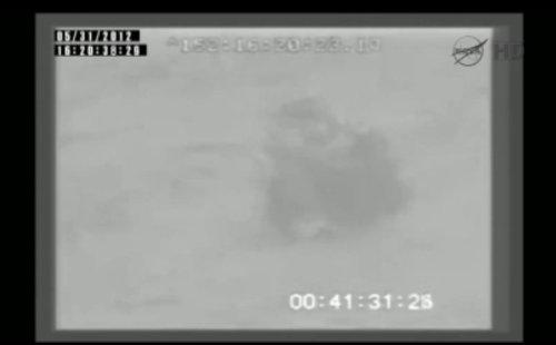 Dragon unoszący się na falach Oceanu Spokojnego / Credits: NASA TV