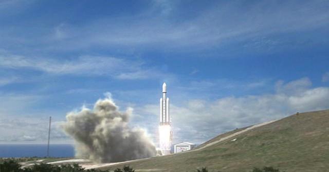 Start rakiety Falcon Heavy - wizualizacja / Credits: SpaceX