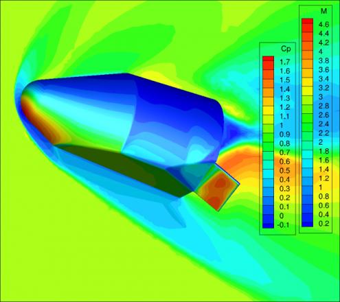 Wyniki analizy numerycznej - rozkład ciśnień dla kapsuły SV / Źródło: Blue Origin