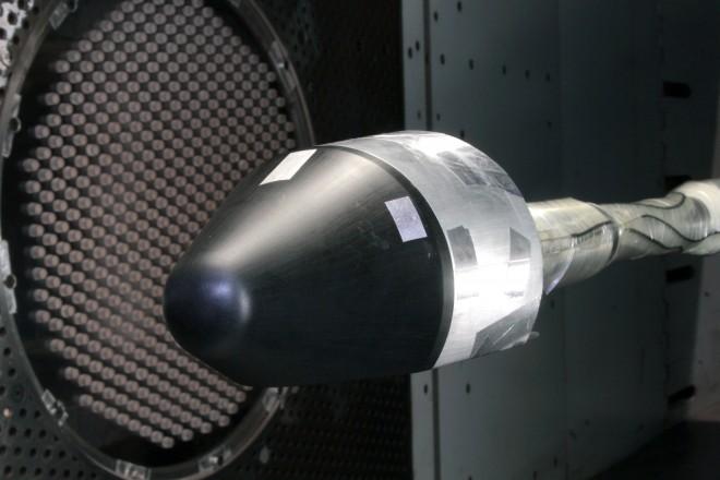 Model kapsuły SV w tunelu aerodynamicznym / Źródło: Blue Origin