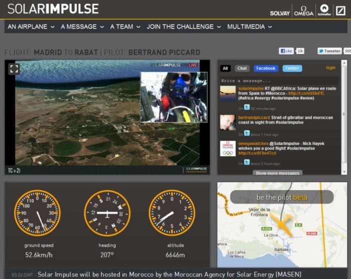 Zrzut ekranu podglądu na status lotu samolotu Solar Impulse (godzina 16:00 CEST) / Credits: www.solarimpulse.com