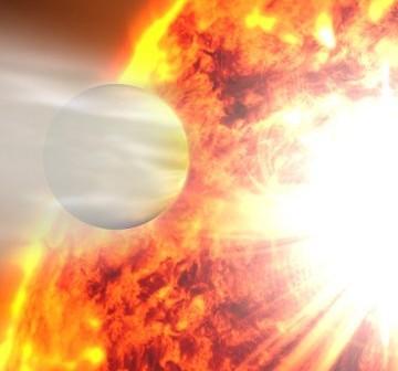 Artystyczna wizja wpływu rozbłysku z 7 września 2011 na egzoplanetę HD 189733 b / Credits - NASA's Goddard Space Flight Center