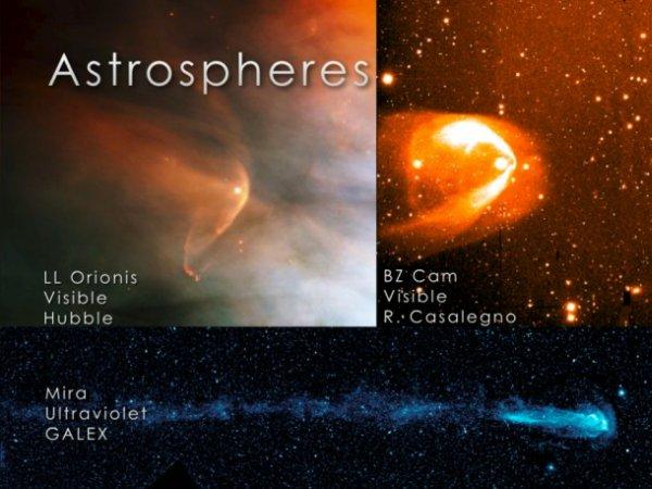 Gwiazdy przemieszczając się wytwarzają bąble gazu i magnetycznych pól, ulegające spłaszczeniu na przedzie i wydłużeniu z tyłu. Bąble nazywane są astrosferami lub w przypadku naszego Słońca - heliosferą. Zdjęcie przedstawia kilka najbardziej spektakularnych astrosfer gwiazd / Credits: NASA/Goddard Space Flight Center
