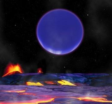Wizja artystyczna egzoplanety Kepler-36 c widzianej z powierzchni Kepler-36 b / Credits - Harvard-Smithsonian Center for Astrophysics/David Aguilar