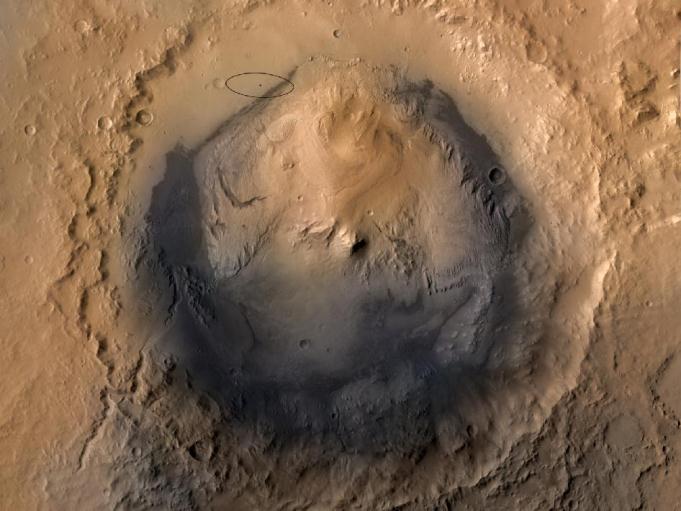 Krater Gale - cel misji MSL z zaznaczoną aktualną elipsą lądowania / Credits - NASA, JPL