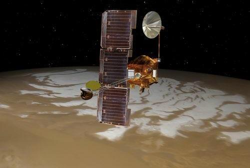 Mars Odyssey nad Czerwoną Planetą / Credits: NASA