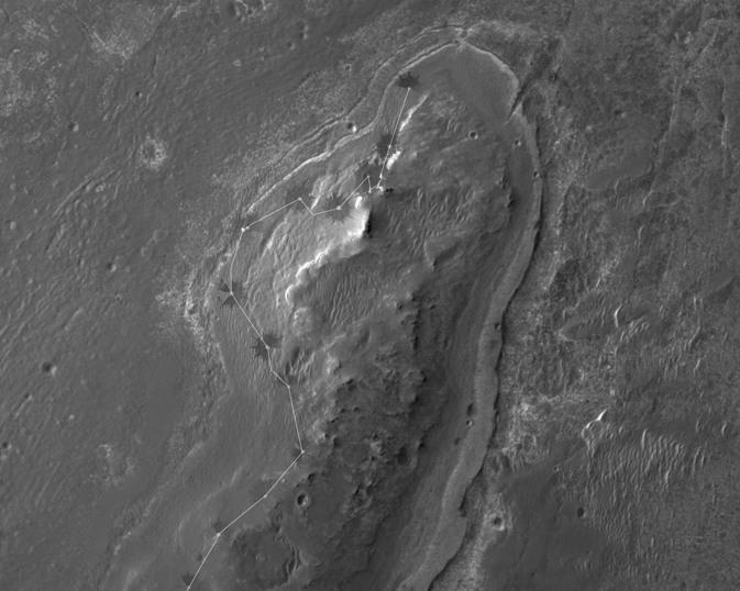 Trasa Opportunity do sol 2965 / Credits: NASA/JPL/Cornell/University of Arizona