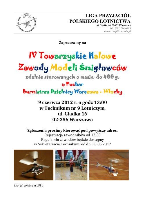 IV Towarzyskie Halowe Zawody Modeli Śmigłowcowych. Credits: LPPL