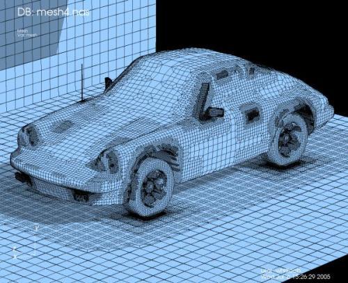 Wizualizacja modelu samochodu Porsche 911 przygotowany do obliczeń numerycznych za pomocą programu NASTRAN.