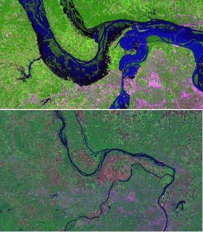 Zdjęcie satelitarne północnego Saint Louis w trakcie wielkiej powodzi w 1993 roku, gdy wylały rzeki Mississippi i Missouri, wyrządzając szkody szacowane na 15 miliardów dolarów amerykańskich. Poniżej zdjęcie tego samego obszaru przy normalnym stanie wód.