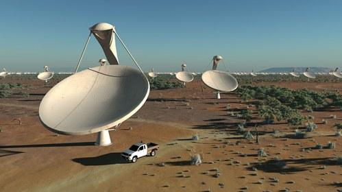 Artystyczna wizja radioteleskopu SKA/ Credits: SKA