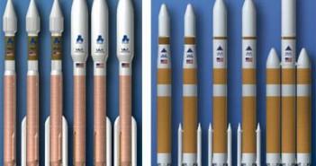Artystyczna wizja rodzin rakiet Atlas 5 (po lewej) i Delta 4 (po prawej) / Credits: ULA