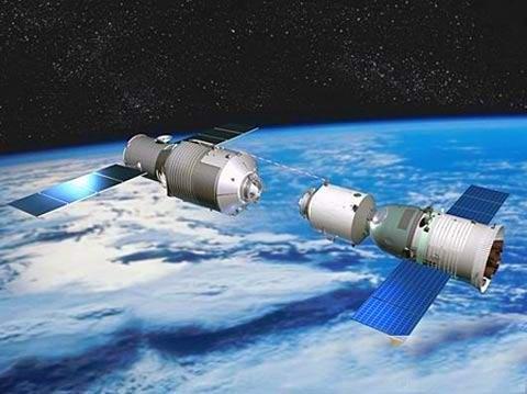 Wizualizacja operacji cumowania pojazdu Shenzhou do modułu Tiangong-1