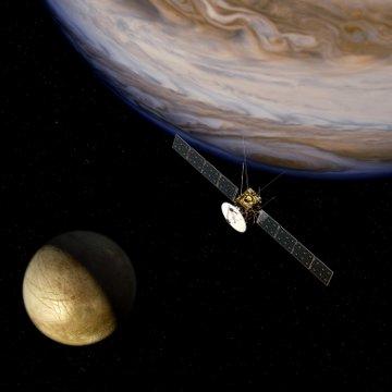 Wizja artystyczna sondy JUICE w okolicach Jowisza / Credits - ESA