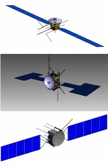 Trzy wstępne konfiguracje sondy JUICE / Credits - NASA