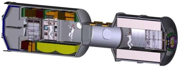 Do budowy modułu mieszkalnego Deep Space Habitat wykorzystane zostanie doświadczenie i sprzęt pochodzące z programu stacji ISS. Sam habitat zbudowany będzie z modułu laboratoryjnego, tunelu zawierającego śluzę oraz modułu bazowanego na logistycznym MPLM (Multi-Purpose Logistics Module), który wykorzystywany był do transportu ładunków w ładowniach promów kosmicznych / Credits: NASA