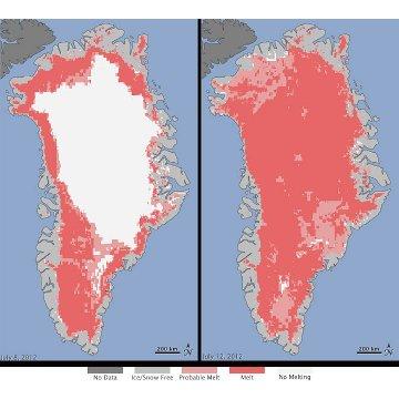 Topnienie powierzchni pokrywy lodowej ósmego lipca 2012 roku (po lewej) i 12 lipca 2012 roku (po prawej). Odcienie koloru czerwonego odpowiadają różnej prędkości topnienia / Credits -Nicolo E. DiGirolamo, SSAI/NASA GSFC, and Jesse Allen, NASA Earth Observatory