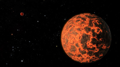 Wizualizacja czerwonego karła GJ 436 oraz planety UCF 1.01 / Credtis: NASA, Caltech