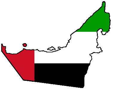 Flaga i terytorium Zjednoczonych Emiratów Arabskich / domena publiczna, źródło: WikiCommons