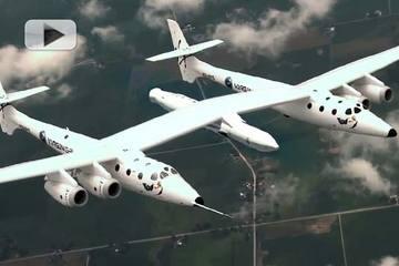 LauncherOne podczepiony do samolotu WhiteKnightTwo / Credits: Virgin Galactic