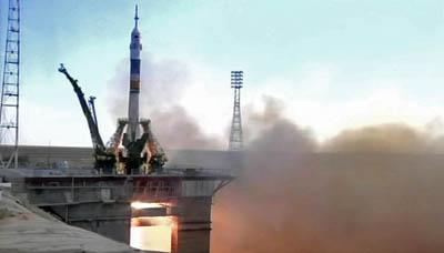 Start rakiety Sojuz ze statkiem załogowym Sojuz TMA-05M z kosmodromu Bajkonur / Credits: NASA