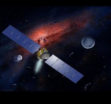 Artystyczna wizja sondy Dawn oraz dwóch głównych celów misji - Westy i Ceres / Credits: NASA