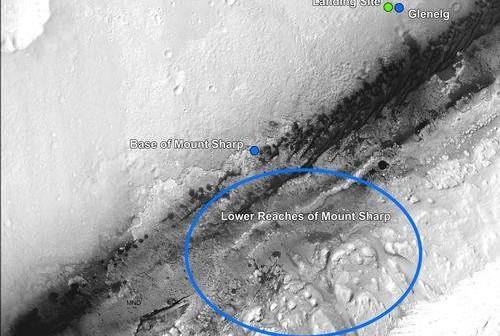 Położenie Glenegl względem miejsca lądowania MSL oraz głównego celu wyprawy - góry Mt Sharp / Credits - NASA, JPL