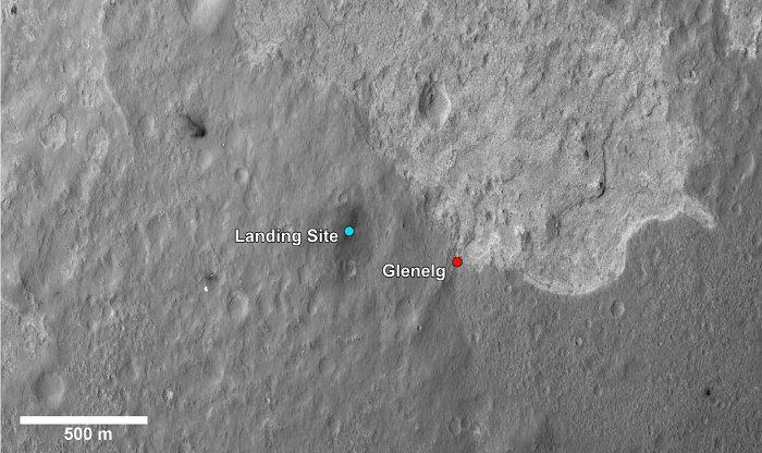 Zbliżenie na obszar Glenelg i miejsce lądowania MSL / Credits - NASA, JPL