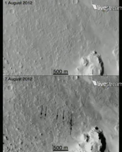 """Ślady uderzeń balastów w powierzchnię, 12 km od łazika """"Curiosity"""" (NASA TV, SFN)"""