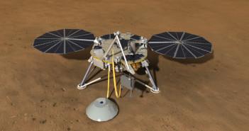 Wizualizacja misji InSight z rozstawionymi instrumentami SEIS i HP3 / Credit: NASA, JPL