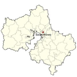 Szczołkowo na mapie obwodu moskiewskiego / Wikipedia