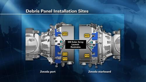 Miejsce instalacji paneli ochronnych na module Zwiezda / Credits: NASA