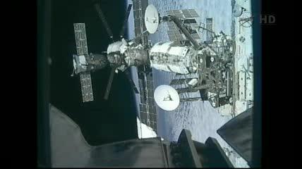 Widok na rosyjską część Stacji oraz ATV-3 / Credits - NASA TV