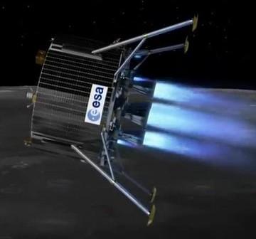 Artystyczna wizja europejskiego lądownika księżycowego, schodzącego z orbity Srebrnego Globu / Credits - ESA