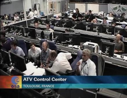 Widok na centrum ATV w Tuluzie, podczas próby odcumowania ATV-3 od ISS - 26.09.2012 / Credits - NASA TV