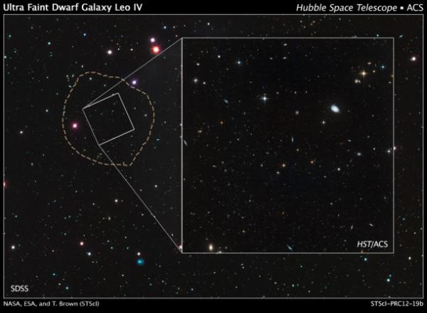 Obraz wykonany w ramach przeglądu Sloan Digital Survey. Przerywaną linią zaznaczono granice galaktyki karłowatej Leo IV, posiadającej szerokość około 1100 lat świetlnych. Biały prostokąt jest polem widzenia Teleskopu Hubble'a / Credits: NASA, ESA, and T. Brown (STScI)