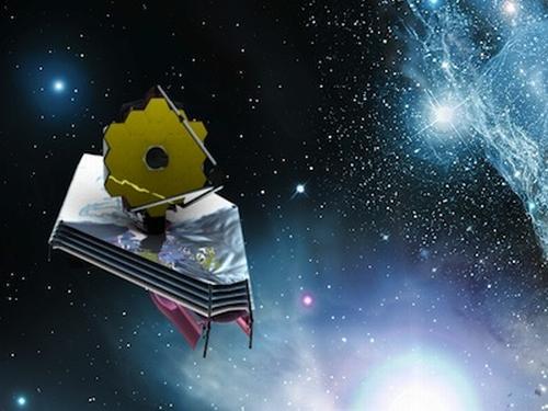Artystyczna wizja teleskopu JWST, który po całkowitym rozłożeniu na Ziemi miałby wielkość kortu do tenisa ziemnego (dla porównania Kosmiczny Teleskop Hubble'a jest wielkości autobusu) / Credits: NASA/ESA