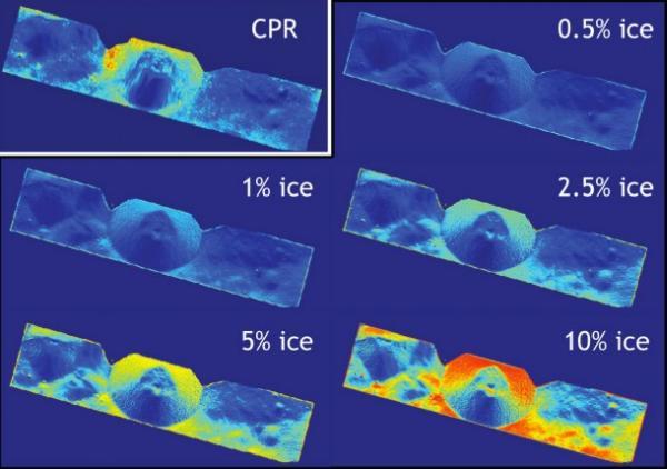 Aktualne radarowe obserwacje (CPR) ilości lodu znajdującego się w rejonie krateru Shackleton zdają się wskazywać, iż znajduje się tam od 5 do 10% lodu / Credits: NASA