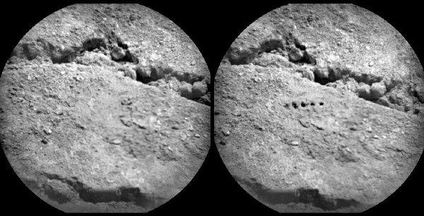ChemCam wycelowany w marsjański grunt - próba z Sol 19 / Credits - NASA/JPL-Caltech/LANL/ CNES/IRAP/LPGN/CNRS