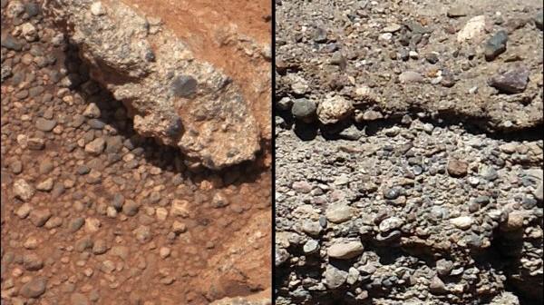 Porównanie śladów po strumieniach na Marsie (po lewej) i na Ziemi (po prawej). Obie formacje zawierają zlepki drobnych kamyczków, przetransportowanych przez wartki strumień / Credits - NASA/JPL-Caltech/MSSS and PSI