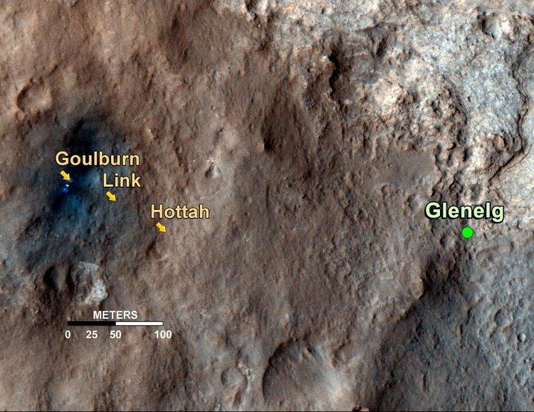 Miejsca w których MSL zarejestrował ślady strumieni. Najwięcej dowodów pochodzi z obszaru Hottah, znajdującego się już poza strefą zaburzonego terenu (od lądowania łazika) / Credits - NASA/JPL-Caltech/Univ. of Arizona