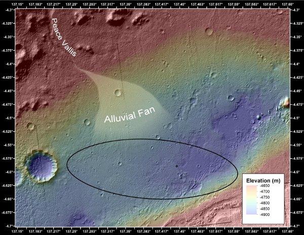Obszar, w którym prawdopodobnie występują podobne ślady strumieni oraz elipsa lądowania MSL. Łazik wylądował w miejscu zaznaczonym krzyżykiem / Credits - NASA/JPL-Caltech/Univ. of Arizona