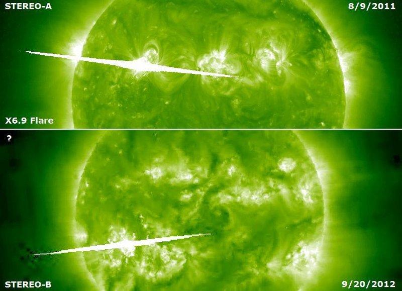Porównanie wyglądu najsilniejszego zarejestrowanego i zmierzonego rozbłysku (X6.9) z 9 sierpnia 2011 z tym, który powstał 20 września 2012 / Credits - NASA