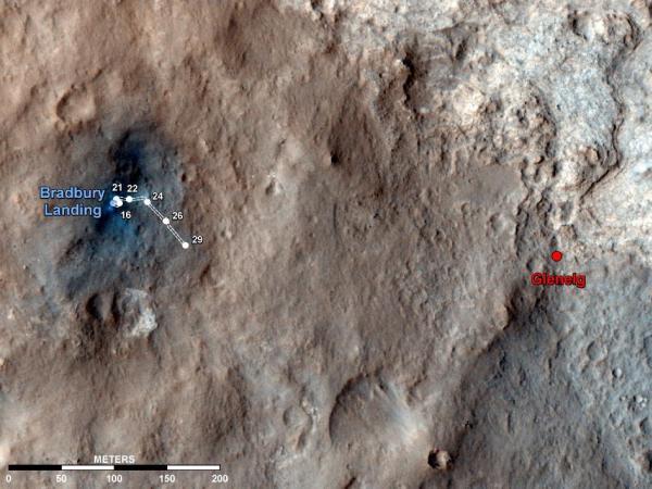 Grafika ukazująca dotychczasowy dystans pokonany przez łazika Curiosity (do Sol 29). Po prawej widoczny średniookresowy cel łazika - obszar Glenelg / Credits: NASA/JPL-Caltech/Univ. of Arizona