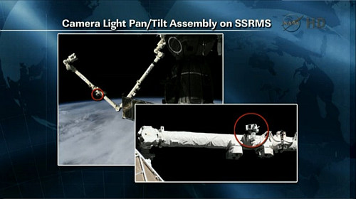 Lokalizacja elementu CLPA na ramieniu SSRMS (NASA TV)