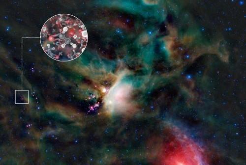Molekuły cukru w gazie otaczającym młodą gwiazdę podobną do Słońca, 400 lat świetlnych od Ziemi. (Credits: ESO)